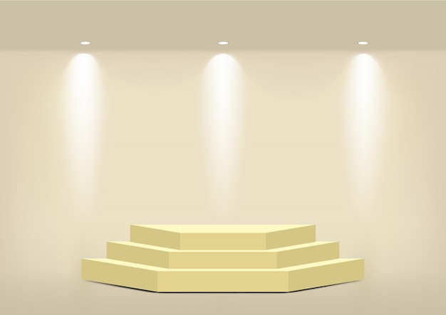 Realistic empty geometric gold shelf for interior to show product