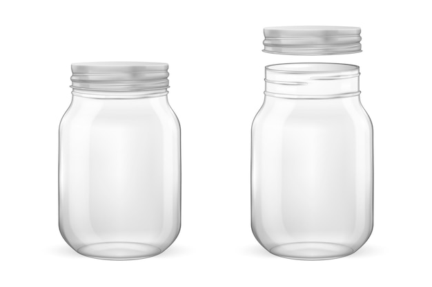 Realistic empty glass jar for canning and preserving set with silvery lid  open and closed  closeup Premium Vector