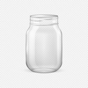 Realistic empty glass jar for canning and preserving without lid closeup isolated