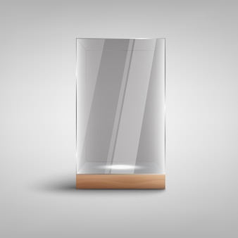 Realistic empty glass showcase i with blank lit space inside
