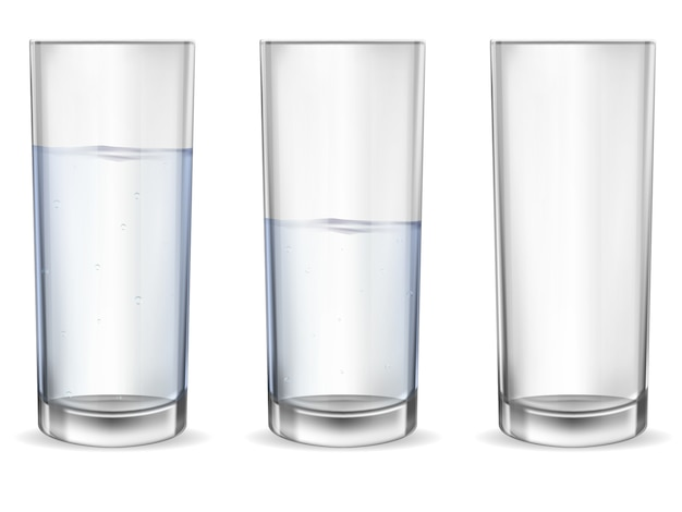 Realistic empty glass with water cup set.