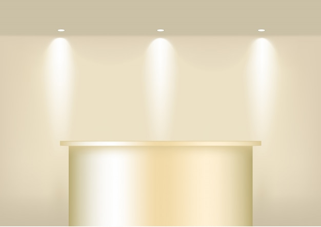 Realistic empty  gold shelf for interior to show product with spotlight and shadow . podium