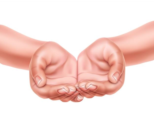 Реалистичные пустые руки сложены вместе вектор 3d