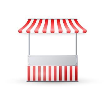 빨간색과 흰색 줄무늬 천막으로 현실적인 빈 시장 마구간.