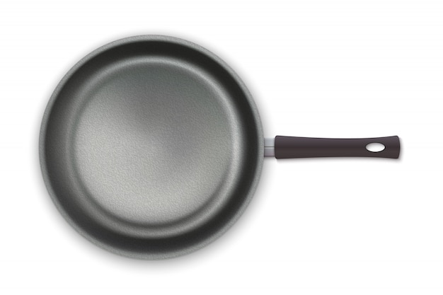 Realistic empty pan in top view isolated on white background