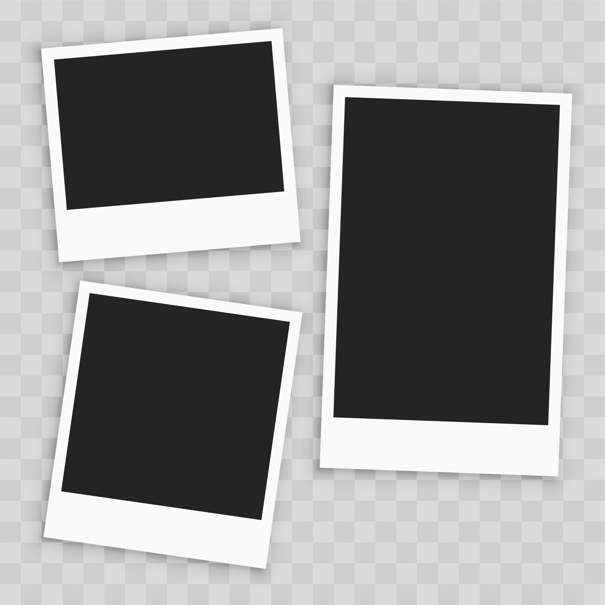 Realistic empty paper photo frame