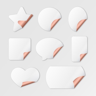 Realistic empty paper sticker collection