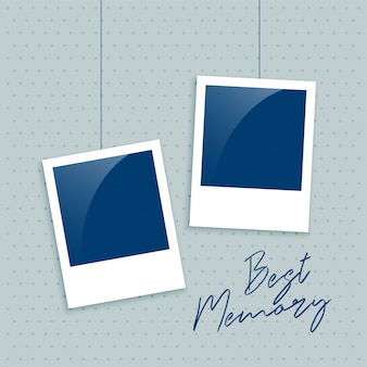 Realistic empty photo frame for memory