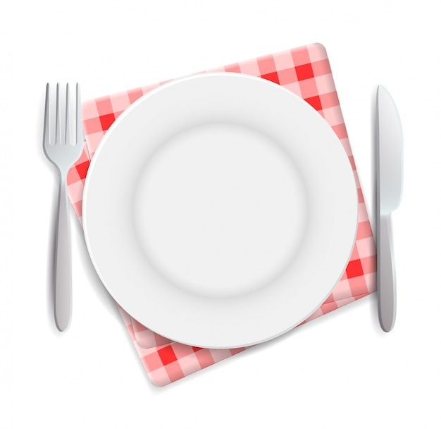 Realistic empty plate, fork and knife served on checkered red napkin