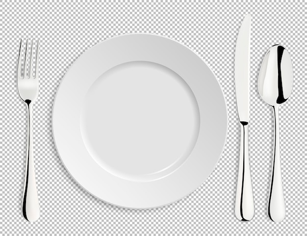 Realistic empty plate with spoon, knife and fork isolated.