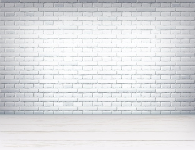 Realistic empty room interior with white brick wall