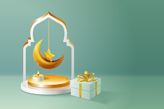 Realistic empty room with 3d islamic new year decoration