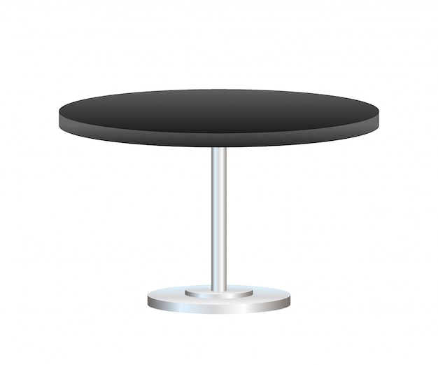 Realistic empty round table with metal stand isolated on white