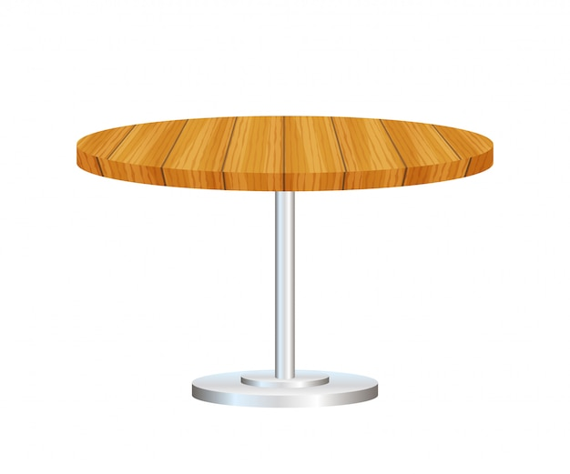 Realistic empty round table with metal stand isolated.
