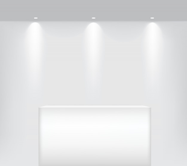 Realistic empty shelf to table podium for interior to show product