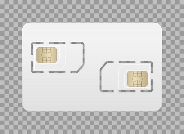 Realistic empty sim card for mobile phone. main sim card and additional.