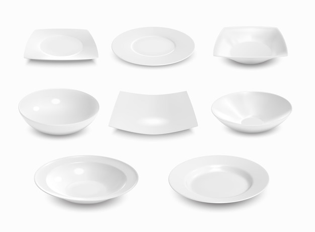 Realistic empty soup and shallow bowls