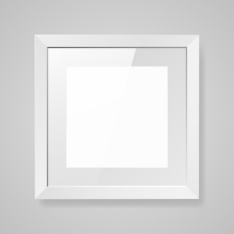 Realistic empty square white frame with glass