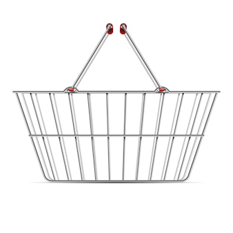 Realistic empty supermarket shopping metal basket with handles vector illustration isolated
