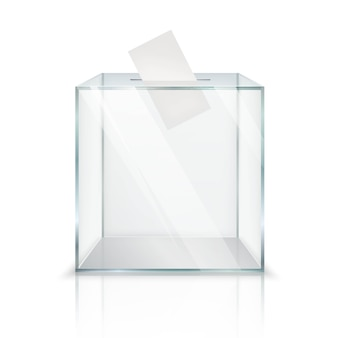 Realistic empty transparent ballot box