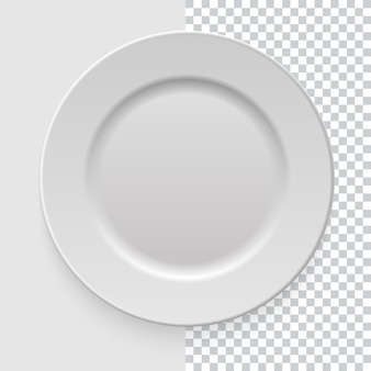 Realistic empty white dish plate with shadow on transparent background. template  for food presentation and your projects. top view. kitchen appliances utensils for eating.  illustration.