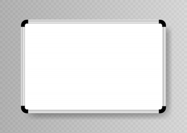 Realistic empty whiteboard for markers isolated on transparent background. white office board.
