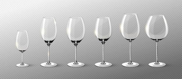 Collezione di bicchieri di vino vuoti realistici