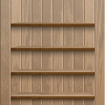 Realistic empty wooden shelf on wood wall metadata