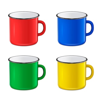 Realistic enamel metal red, blue, green and yellow mug set isolated