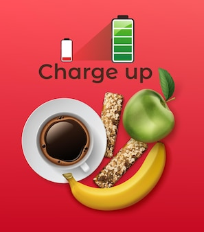 Realistic energetics set with protein bar, coffee cup, apple and banana on red background with full battery icon