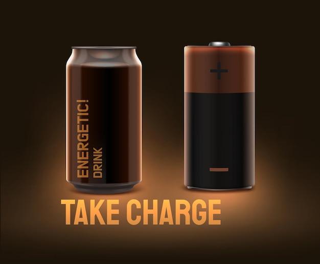 현실적인 에너지 음료는 어두운 갈색 배경에 배터리처럼 보일 수 있습니다.
