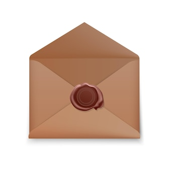 Realistic envelope, open envelope with wax seal, envelope with stamp isolated  .