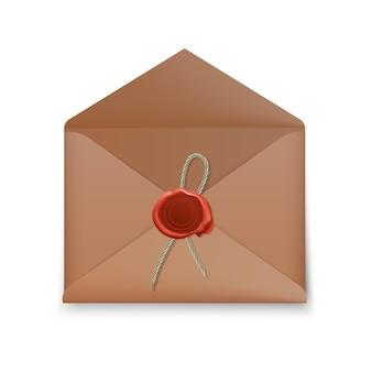 リアルな封筒、ワックスシール付きのオープン封筒、スタンプが分離された封筒。
