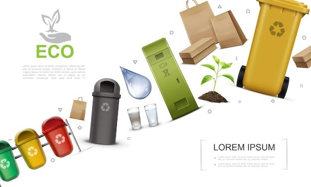 Realistico concetto di protezione ambientale con contenitori per il riciclaggio della pianta dei bicchieri di acqua di immondizia
