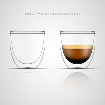 Realistic espresso glass cup and empty double wall glass