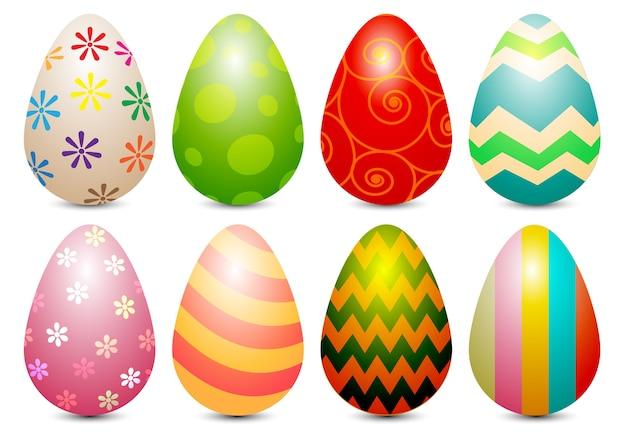 Realistic ester eggs paint color set on white