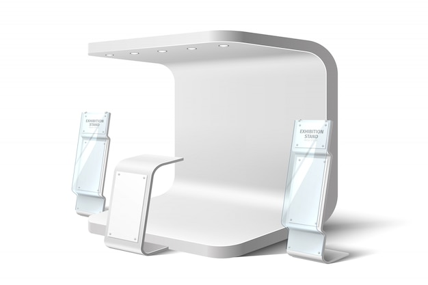 Realistic exhibition stand business expo
