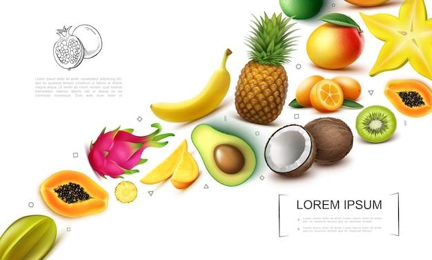Реалистичная коллекция экзотических фруктов с карамболой, папайей, драконьим фруктом, манго, киви, бананом, ананасом, кокосом, кумкватом, авокадо