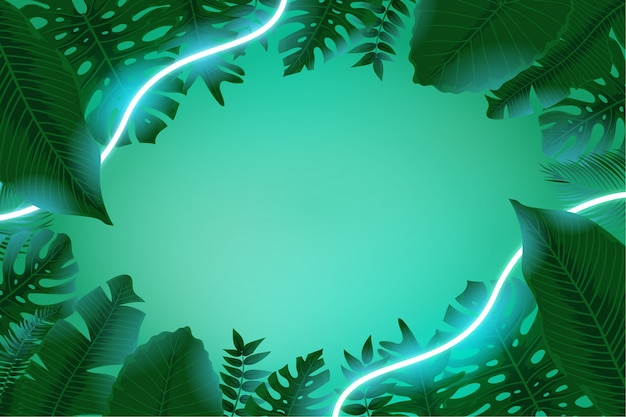 Realistic exotic leaves with neon frame with copy space