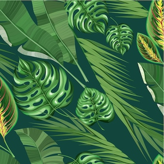 Realistic exotic tropical floral pattern
