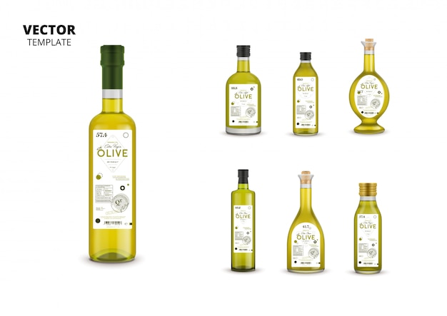 Realistic extra virgin olive oil glass bottle packagings
