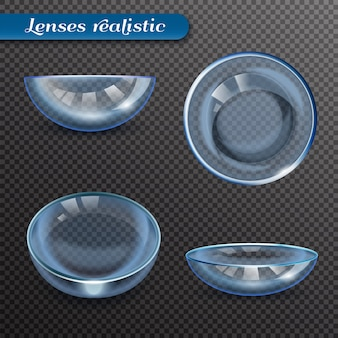 Realistic eye lenses transparent set