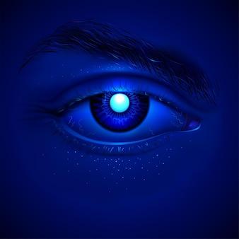 인공 홍채 안에 밝은 파란색 레이저가있는 신비한 사이보그의 현실적인 눈