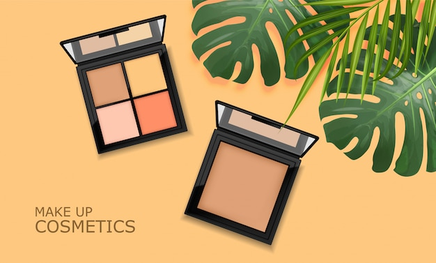 Realistic eye shadow package, make up packaging palette,  cosmetics elegant ,  banner with tropical leaves