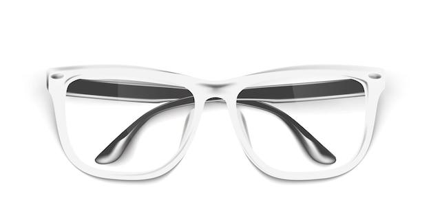 リアルな眼鏡、眼鏡のモックアップ。エレガントな白いファッショナブルなメガネ