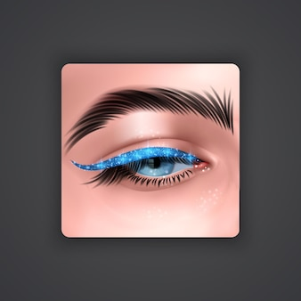 Realistic eyes with bright eyeliner of blue color with glittering texture on dark background