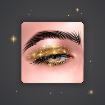 Realistic eyes with bright eyeshadows of golden color with glittering texture