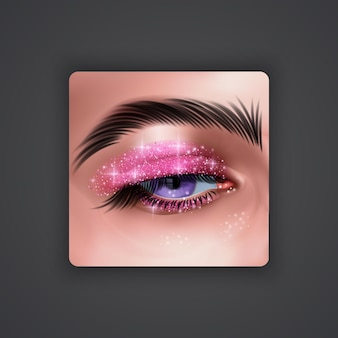 Realistic eyes with bright eyeshadows of pink color with glittering texture