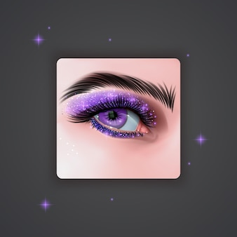 Realistic eyes with bright eyeshadows of purple color with glittering texture