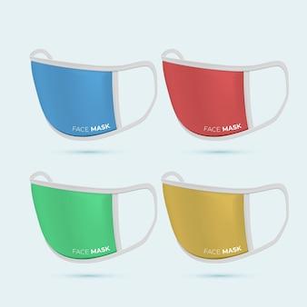 さまざまな色の現実的なファブリックフェイスマスク
